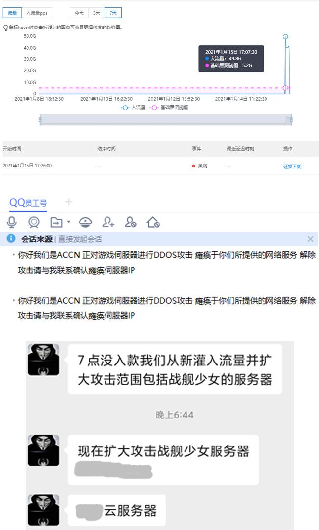 《四叶草剧场》受到黑客组织DDOS攻击说明