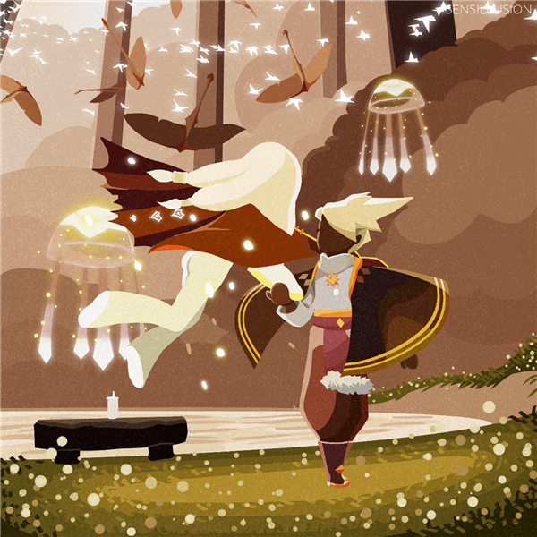 《光·遇》林中白鸟追光而飞