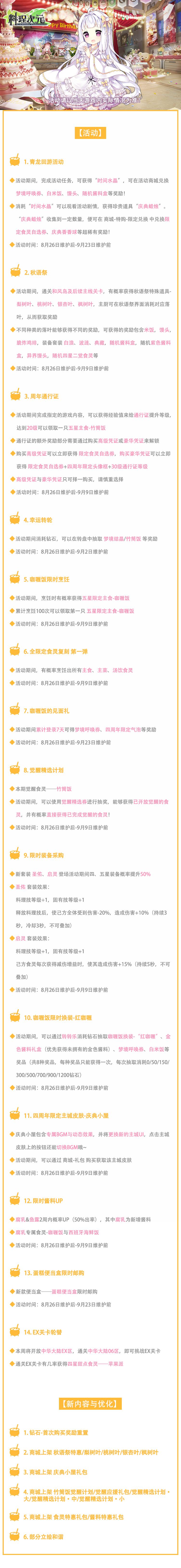 《料理次元》四周年庆正式开启~