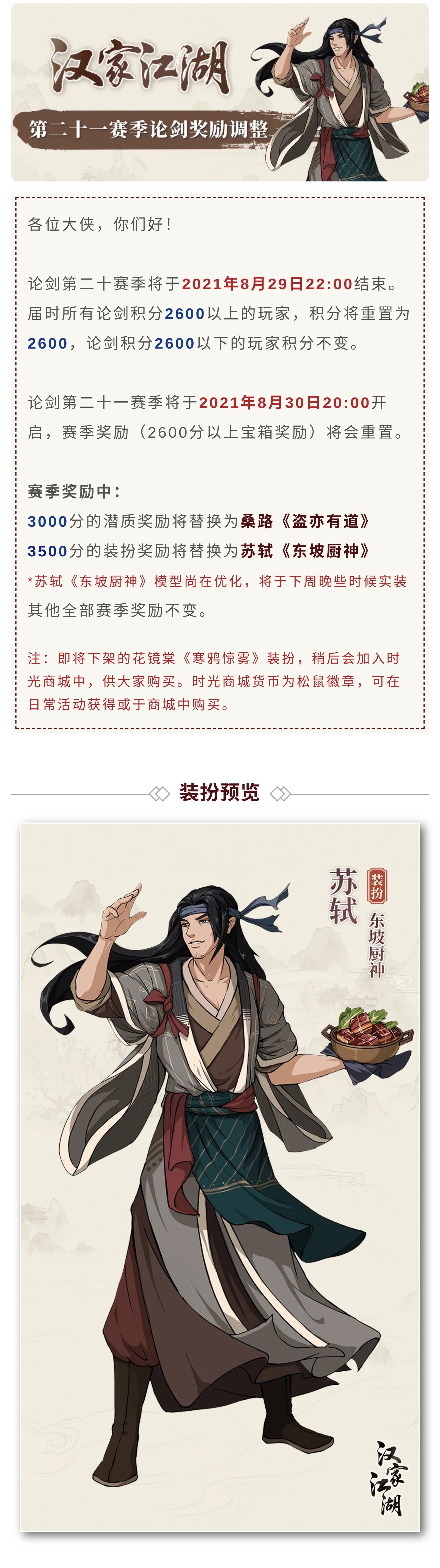 【汉家江湖】第二十一赛季论剑奖励调整
